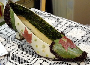"Special Exhibits Division -- Artistic Design ""Party Shoes"" decorated with plant material"