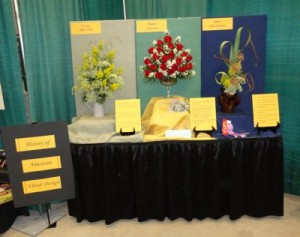"""Special Exhibits -- Educational  """"History of American Floral Design"""" showing traditional designs."""