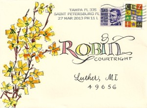 Cheery envelope! Beautiful lettering.