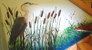 The heron and fox section of my mural.